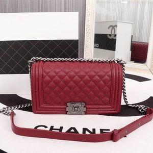 8d90d006ae97 Handbags - Chanel-Le-Boy Medium Dark Red Classic Bag
